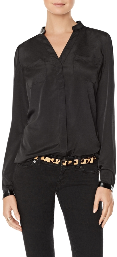 The Limited Faux Leather Trim Shirt