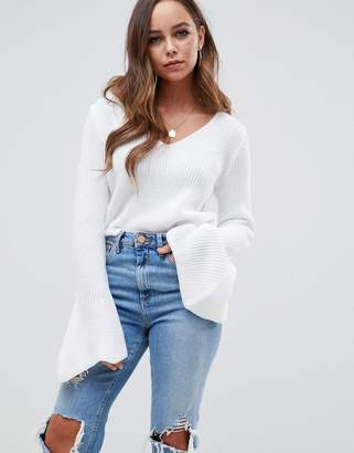 Asos DESIGN v neck crop sweater with flared sleeve