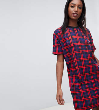 Noisy May Tall Check T-Shirt Dress