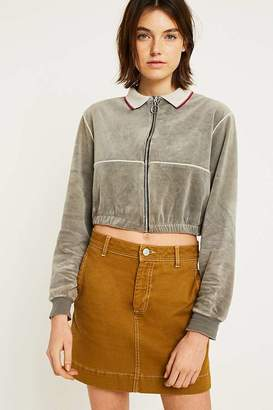 Urban Renewal Vintage Customised Velour Zip-Through Cropped Sweatshirt