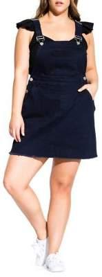 City Chic Plus Frayed Denim Overall Dress