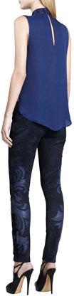 Haute Hippie Leather-Applique Suede Pants