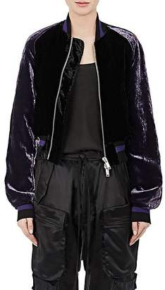 Taverniti So Ben Unravel Project BEN UNRAVEL PROJECT WOMEN'S VELVET CROP BOMBER JACKET - PURPLE SIZE 44 IT