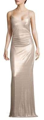 Laundry by Shelli Segal Metallic Strappy Gown