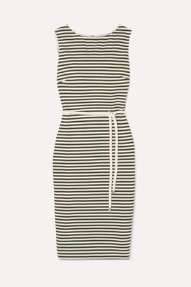 Max Mara Striped Stretch-knit Dress - Army green