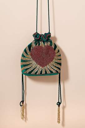 From St Xavier Heart-Beaded Velvet Drawstring Bag