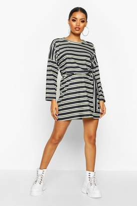 boohoo Striped Jersey Easy Fit Sash Dress