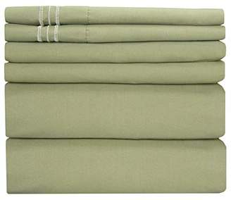 +Hotel by K-bros&Co King Size Sheet Set - 6 Piece Set - Hotel Luxury Bed Sheets - Extra Soft - Deep Pockets - Easy Fit - Breathable & Cooling Sheets - Wrinkle Free - Green - Sage Green Bed Sheets - Kings Sheets - 6 PC