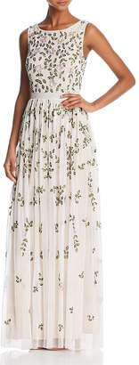 Adrianna Papell Sleeveless Floral-Beaded Gown