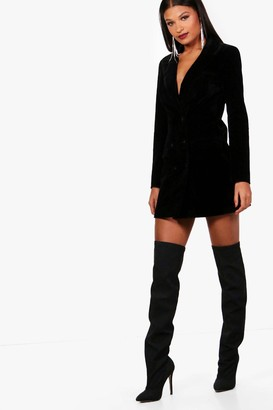 boohoo Velvet Double Breasted Blazer Tux Dress