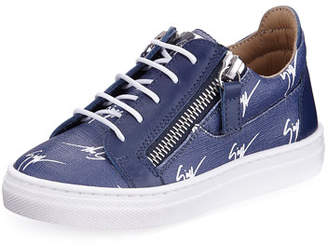 Giuseppe Zanotti Logo-Print Leather Low-Top Sneakers, Toddler/Youth Sizes 10T-1Y