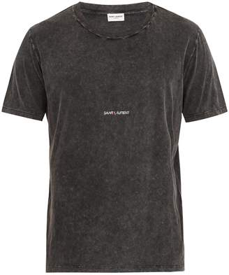 Saint Laurent Logo-print distressed cotton T-shirt