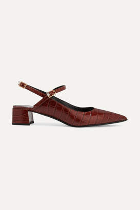 Erdem Aerin Croc-effect Glossed-leather Slingback Pumps - Brown