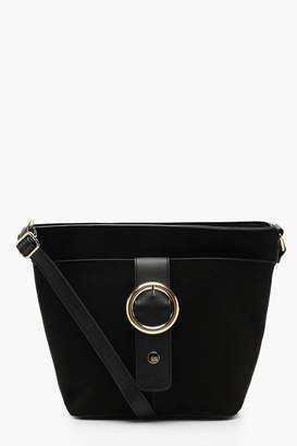 boohoo Suedette And Ring Buckle Bucket Bag