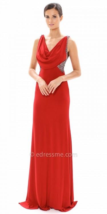 Carmen Marc ValvoCarmen Marc Valvo Infusion Embellished Jersey Cowl Neck Evening Dress