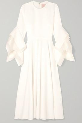 Roksanda Tulle-trimmed Crepe Midi Dress