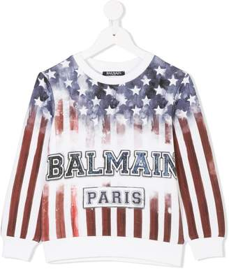 Balmain Kids stars and stripes logo top
