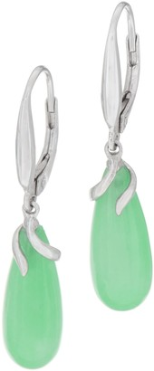 Jade Sterling Silver Lever Back Drop Earrings