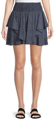 Halston Smocked-Waist Dot-Print Mini Skirt