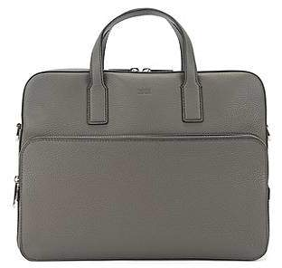 HUGO BOSS Single document case in grained Italian leather