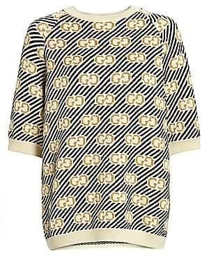 Gucci Women's GG Lurex Jacquard Short-Sleeve Wool Knit Sweater