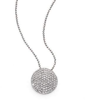 Phillips House Phillips House Women's Pavé Diamond& 14K White Gold Infinity Disc Pendant Necklace