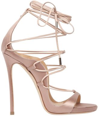 120mm Riri Lace-Up Satin Sandals $965 thestylecure.com
