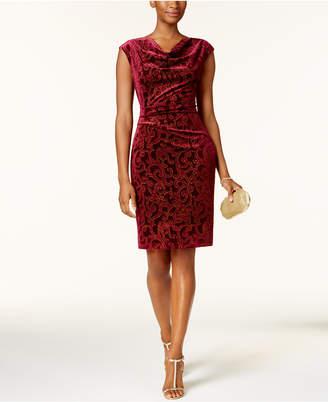 Jessica Howard Cowl-Neck Flocked-Velvet Dress