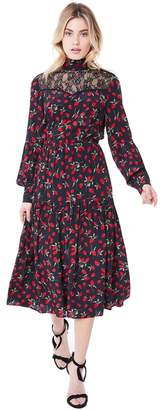 Juicy Couture Strawberry Print Silk Midi Dress