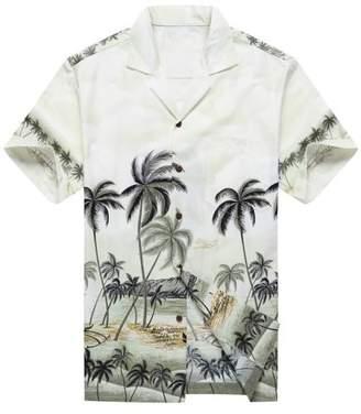 Hawaii Hangover Made in Hawaii Men's Hawaiian Shirt Aloha Shirt Palms Diamond Head Edge Grey