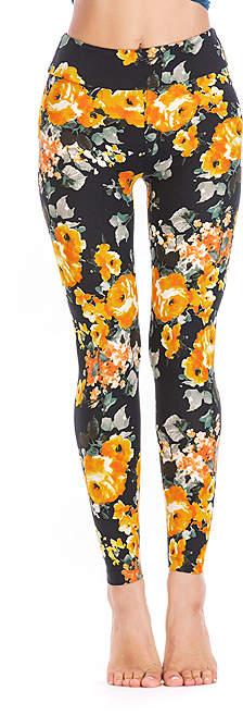Black & Yellow Floral Leggings - Women