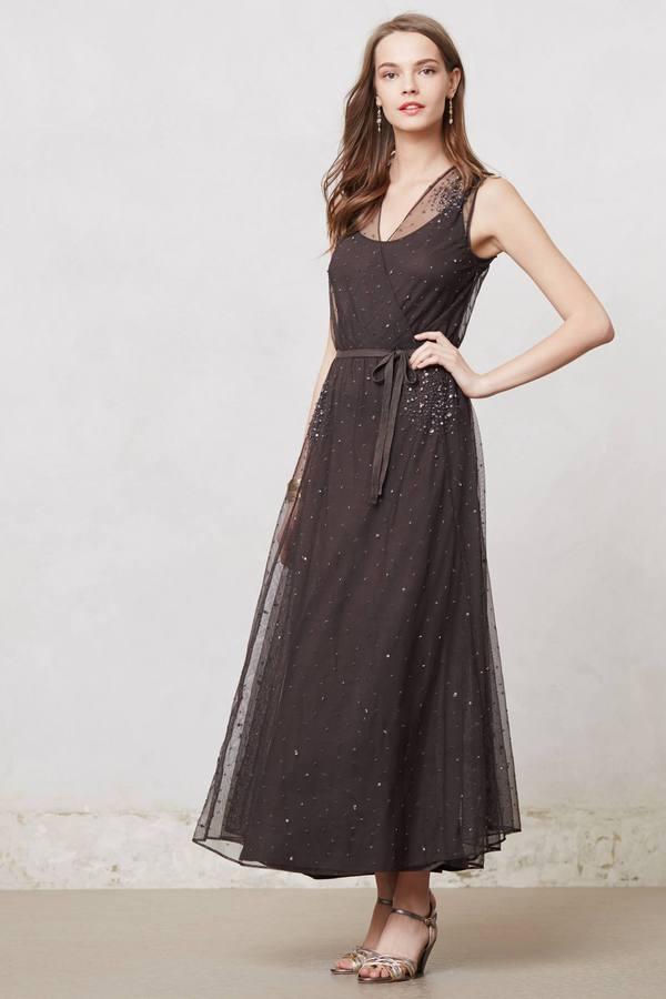 Anthropologie Jeweled Twilight Maxi Dress