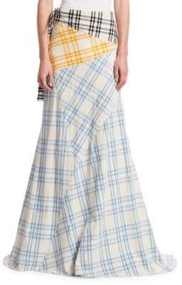 Rosie Assoulin Cut And Paste Plaid Maxi Skirt