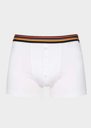 Paul Smith Men's White Four-Button Boxer Briefs With 'Artist Stripe' Waistband