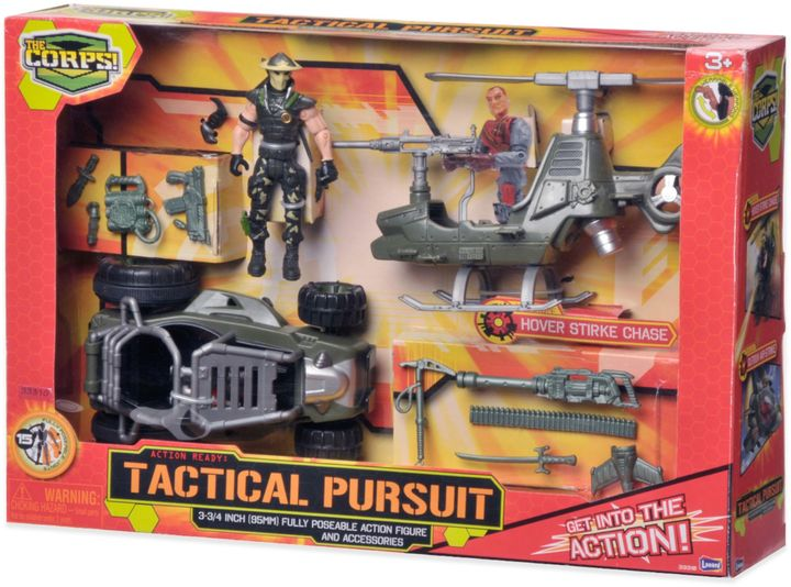 The Corps Tactical Pursuits Playset with Helicopter