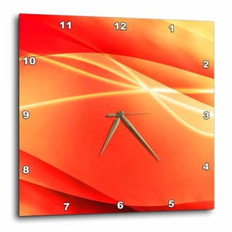 3dRose Orange, Streamers, White, Sparkle, Abstract, Contemporary, Modern, Wall Clock, 15 by 15-inch