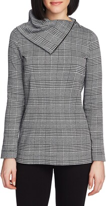 Chaus Plaid Zip Cowl Neck Long Sleeve Top