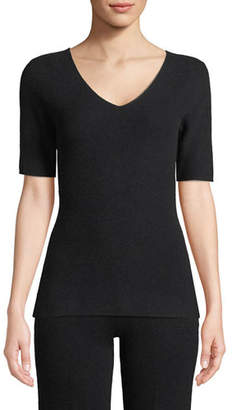 Neiman Marcus Cashmere Short-Sleeve Lounge Top