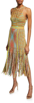 M Missoni Sleeveless Crochet Midi Dress with Fringe Hem