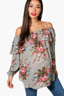 boohoo Maternity Jenny Floral Open Shoulder Top