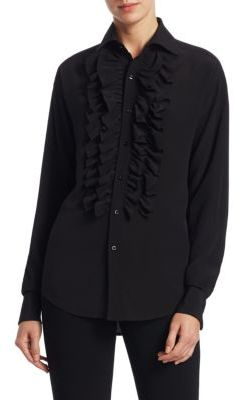 Ralph Lauren Collection Andrei Ruffle Front Silk Blouse
