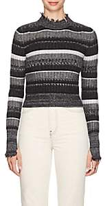 Helmut Lang Women's Frayed Striped Wool-Blend Sweater - Gray