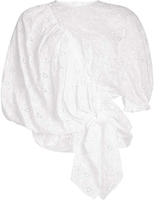 Simone Rocha Coated Anglaise Knot Top with Cotton