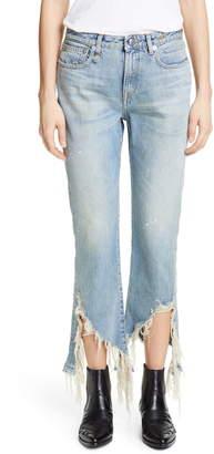 R 13 Spiral Kick Ripped Bootcut Jeans