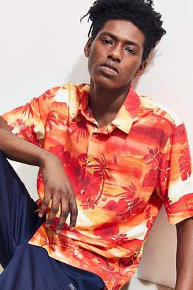 Urban Outfitters Beachy Hibiscus Short Sleeve Button-Down Shirt