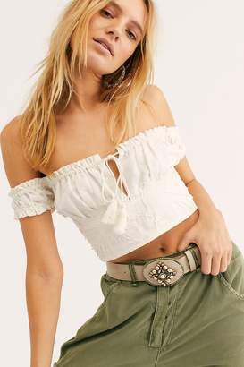 Leather Rock Embellished Pearl Western Belt