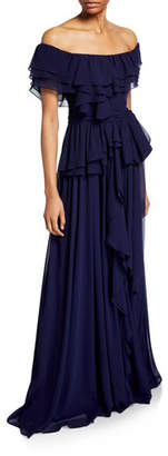 Badgley Mischka Chiffon Off-the-Shoulder Short-Sleeve Ruffle Gown