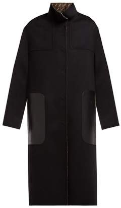 Fendi Reversible Single Breasted Wool Blend Coat - Womens - Black Multi
