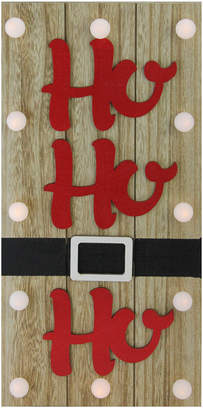 Northlight 15.75In Lighted Brown & Candy Apple Red Ho Ho Ho Santa Belt Wall Decor