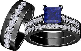 Express Star Retail 3.00 Carat (Ctw) Synthetic Blue Sapphire Princess Cut & Round CZ Diamond 14k Black Gold Over Engagement His & Her Wedding Engagement Trio Ring Set In Shipping